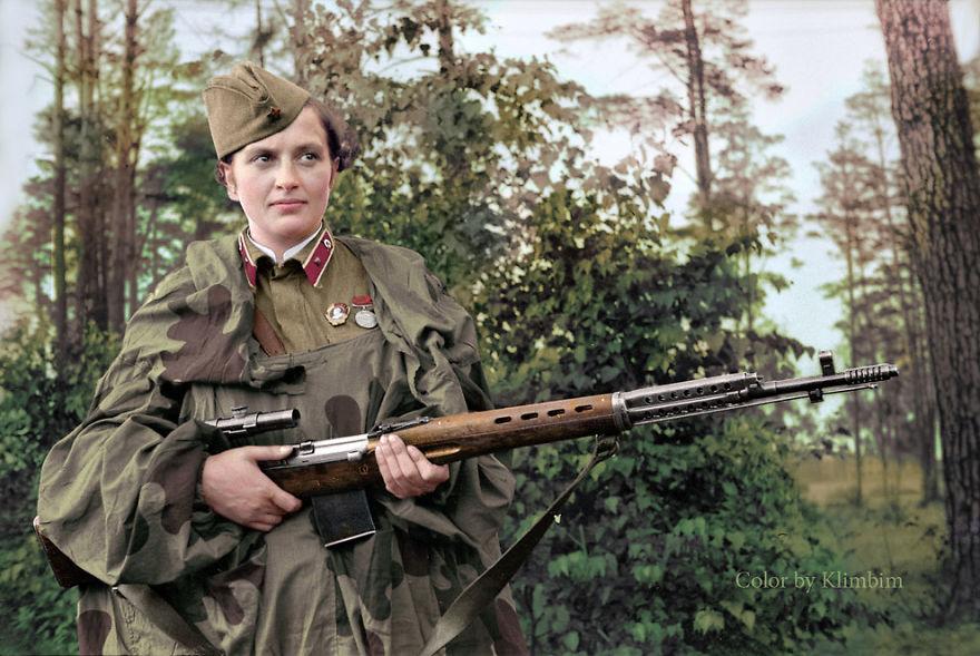 Soviet female sniper