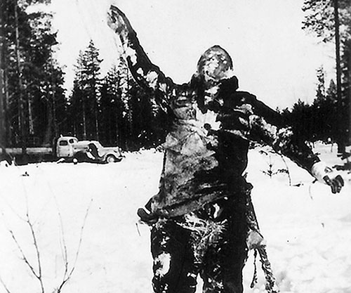 Finland frozen body used as signpost
