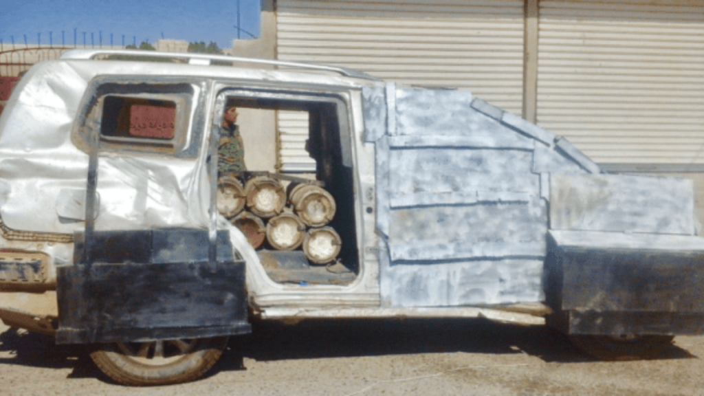 An example of an SVBIED Suicide Vehicle Borne Improvised Explosive Devices used by ISIS in Raqqa, Syria