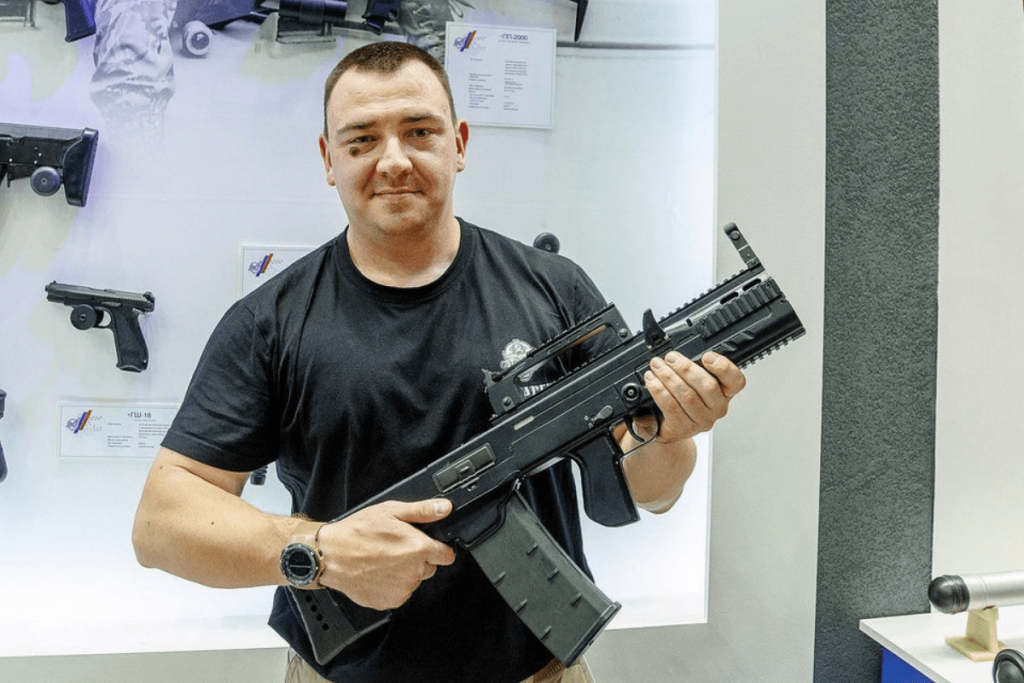 ShAK-12 (re-named ASh-12) in hands of Konstantin Lazarev.